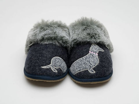 Lazy Dogz Pippin Navy Dachshund Mule Slippers Ladies