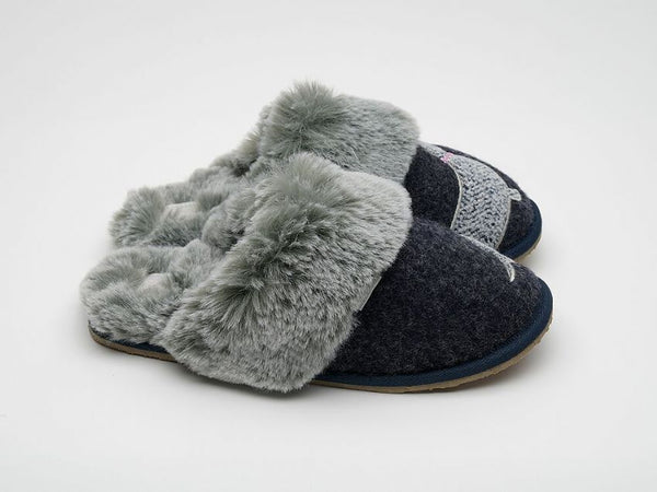 SALE - Lazy Dogz Pippin Slippers - Navy -UK 8