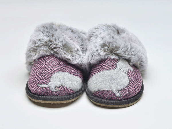 Lazy Dogz Missy Herringbone Pink Dachshund Mule Slippers Ladies