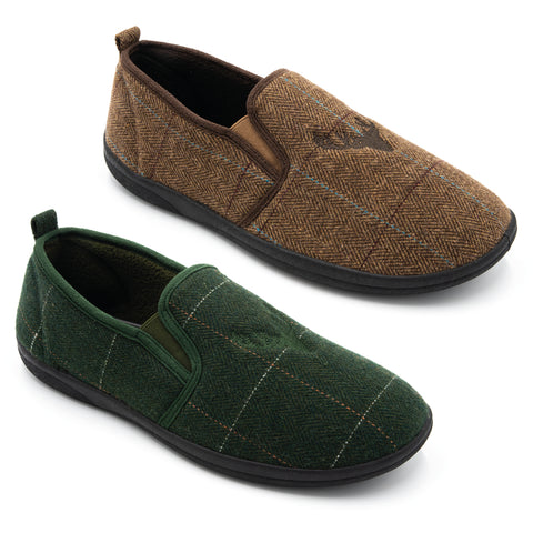 PADDERS HUNTSMAN Wide G Fit Mens Slipper Brown or Green