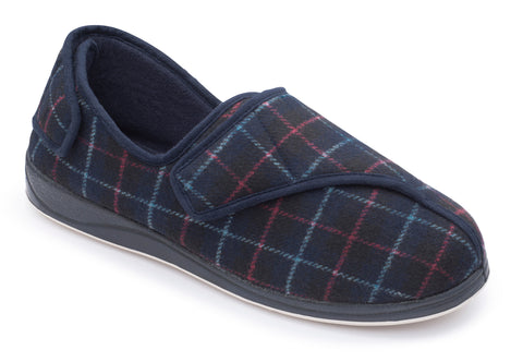 PADDERS PHILLIP Wide G/H Fit Mens Velcro Easy Oepning Slipper Navy
