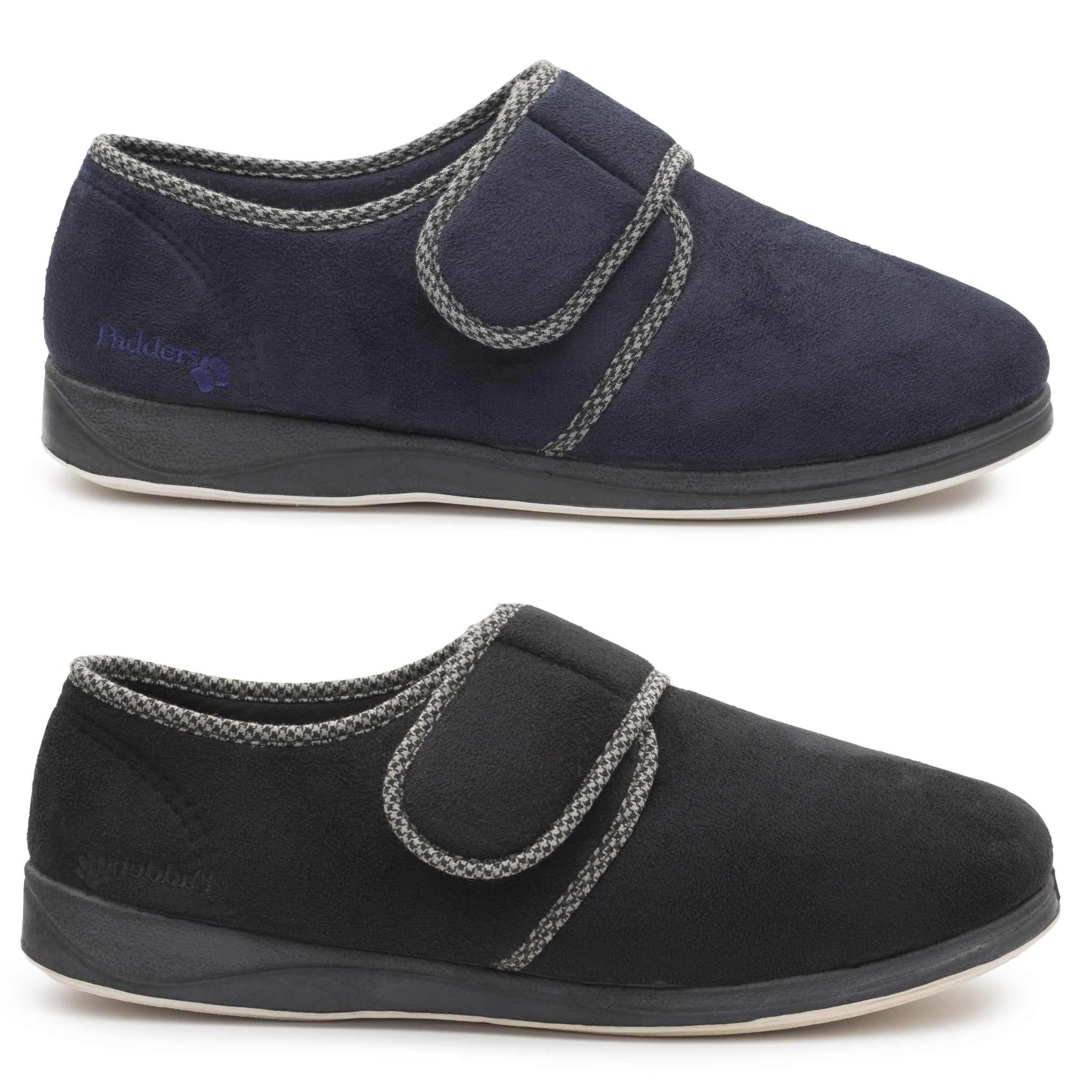 PADDERS HARRY Wide G Fit Mens Velcro Fastening Slipper Navy or Black
