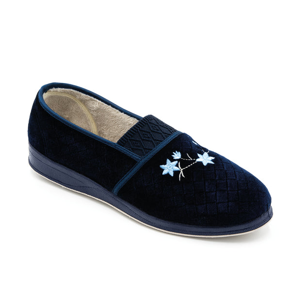 Padders Ann Slipper Navy Ladies