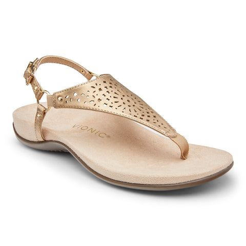 VIONIC KIRRA Thong Sandal - Gold Perforated