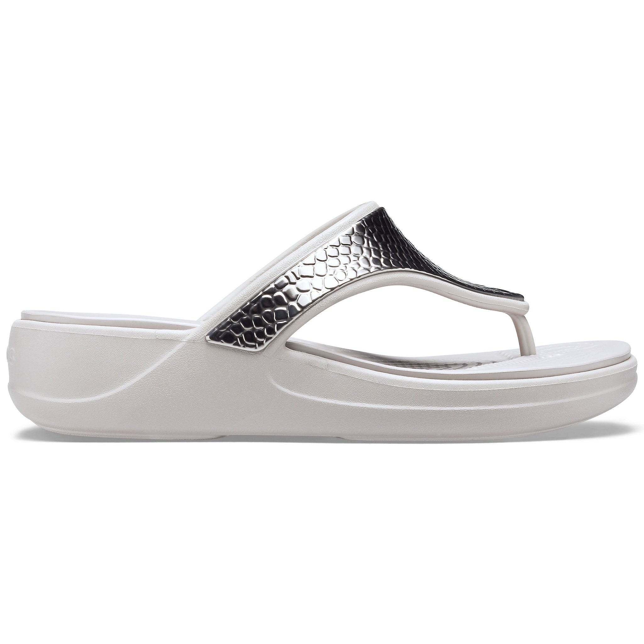 CROCS MONTEREY Metallic Wedge Flip Sandal Silver/ Platinum - Ladies