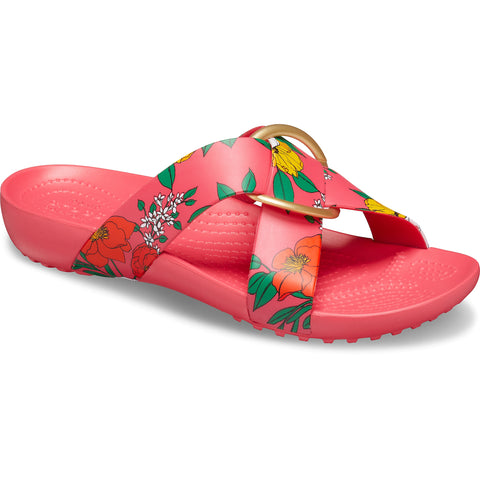 CROCS SERENA Printed Cross Band Slide Sandal Floral / Poppy - Ladies