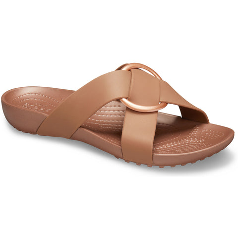 CROCS SERENA Cross Band Slide Sandal Black or Bronze - Ladies