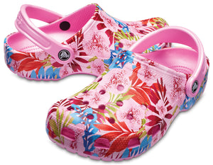 SALE - Crocs Classic Graphic Clogs - Carnation / Candy Pink - 204612-6BX