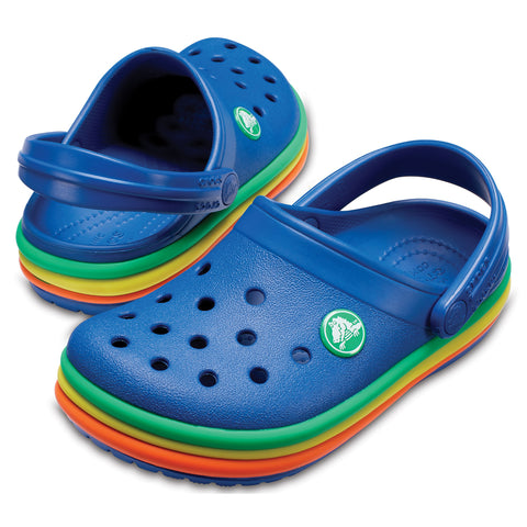 SALE - Crocs KIDS Rainbow Band Clog - Blue Jean - 205205-4GX