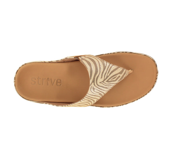 STRIVE MAUI Toe Post Sandal with Arch Support - Tan Zebrine
