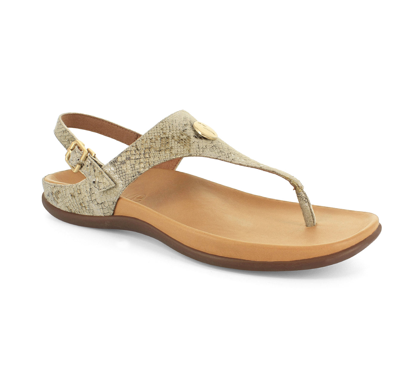 STRIVE TROPEZ Back Strap Toe Post Sandal with Arch Support - Metallic Snake