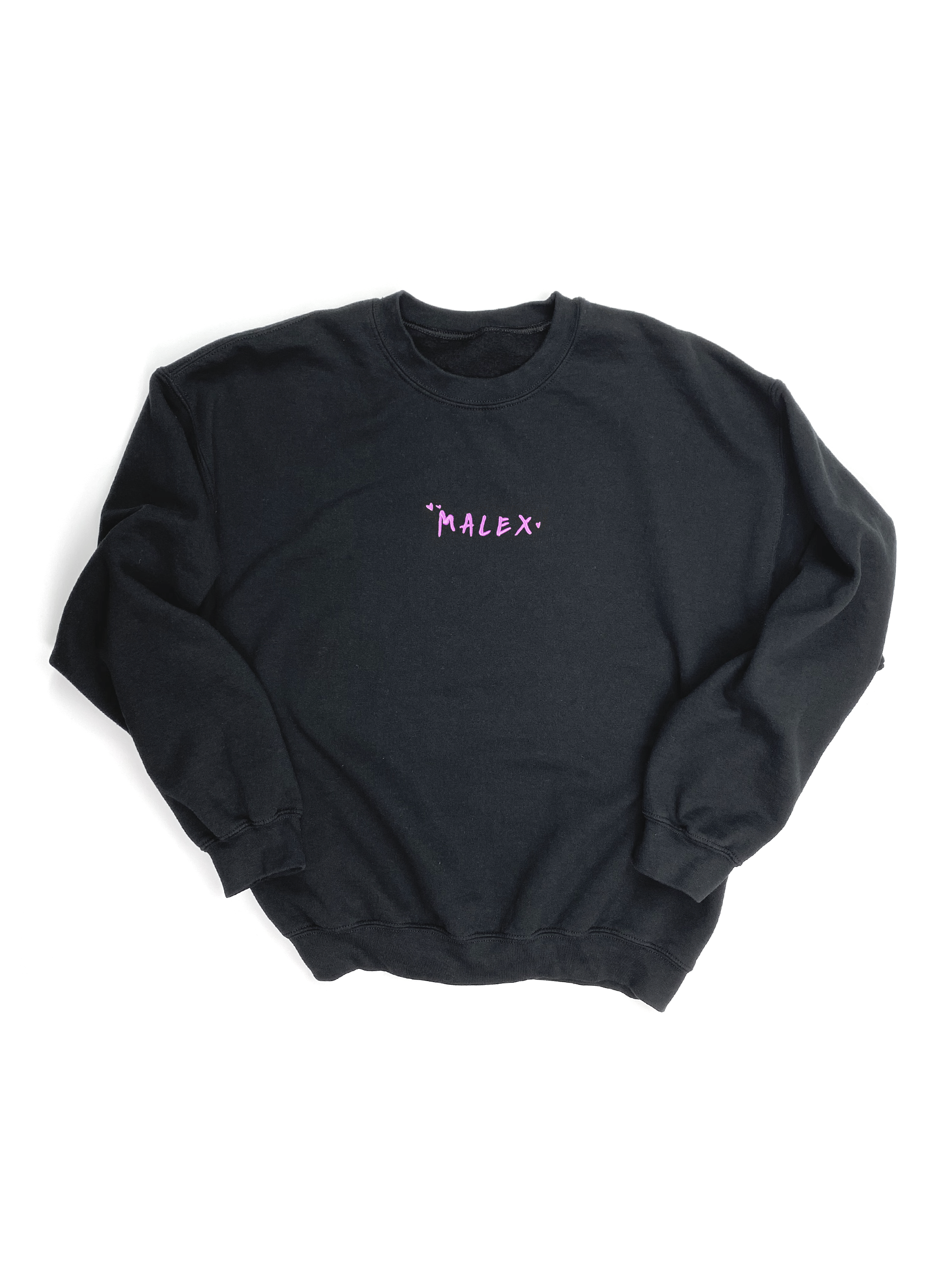 MALEX EMBROIDERED BLACK CREWNECK SWEATSHIRT