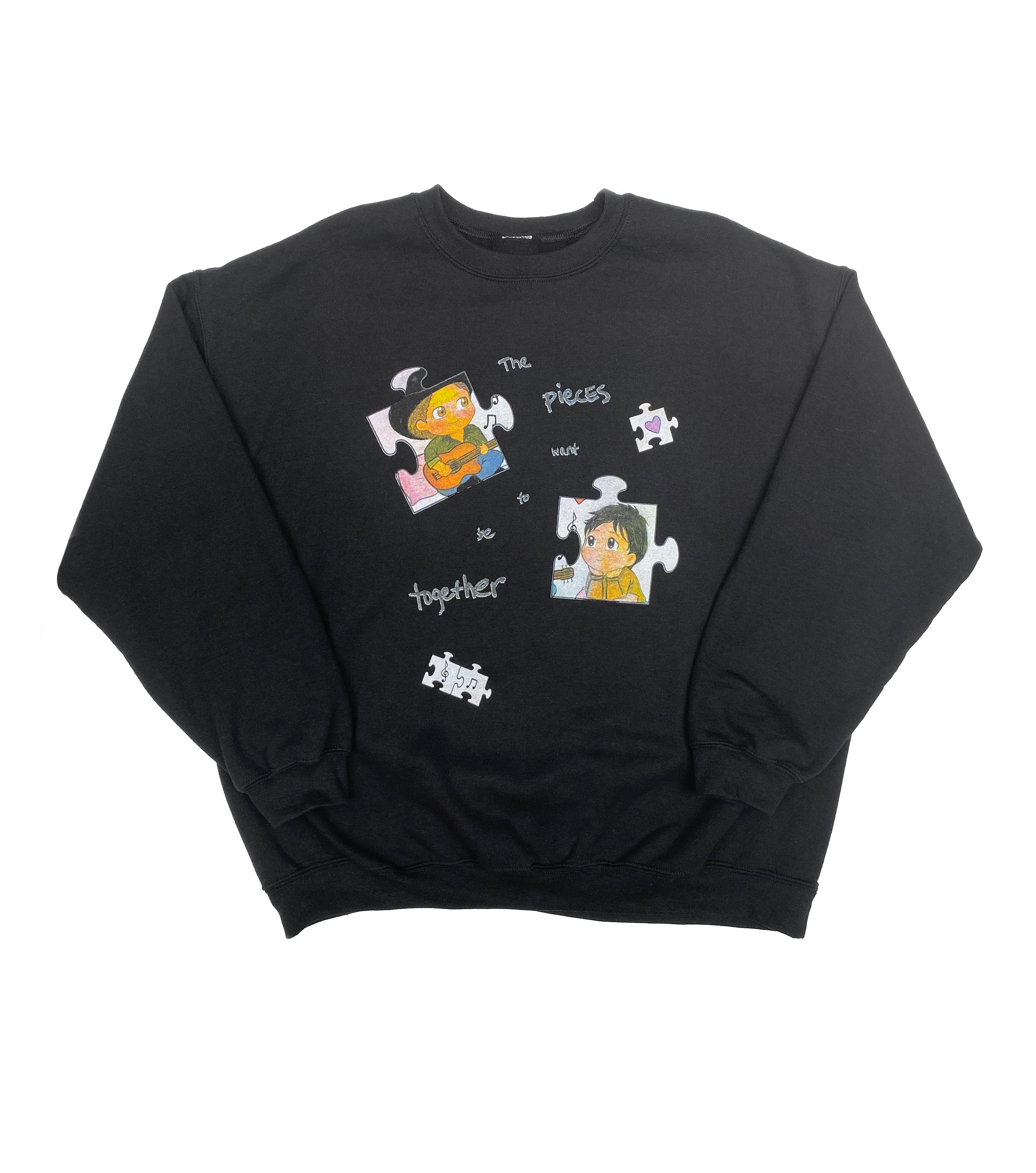 THE PIECES WANT TO BE TOGETHER CREW NECK SWEATSHIRT BLACK