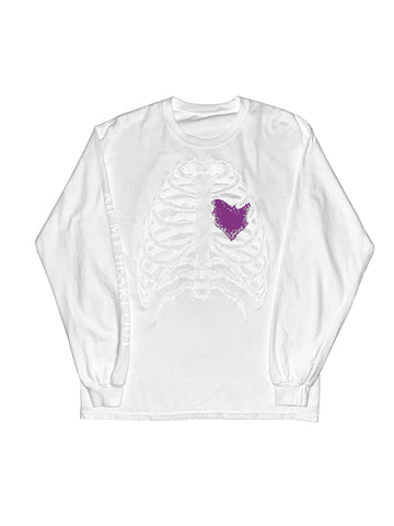 RIP MY HEART OUT GLOW IN THE DARK LONG SLEEVE TEE WHITE