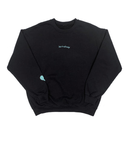 BAD AT RELATIONSHIPS CREW NECK SWEATSHIRT BLACK IN TURQUOISE