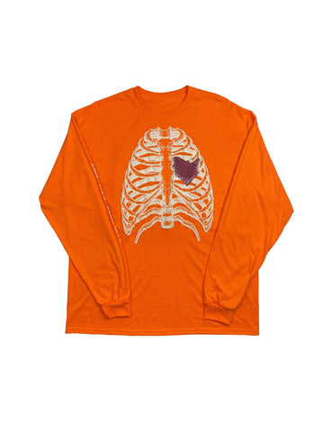 RIP MY HEART OUT GLOW IN THE DARK LONG SLEEVE TEE ORANGE