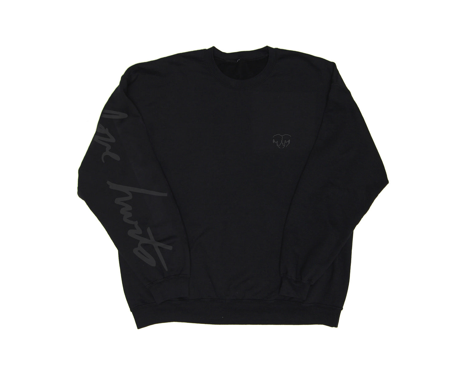 LOVE HURTS CREWNECK SWEATSHIRT BLACK ON BLACK