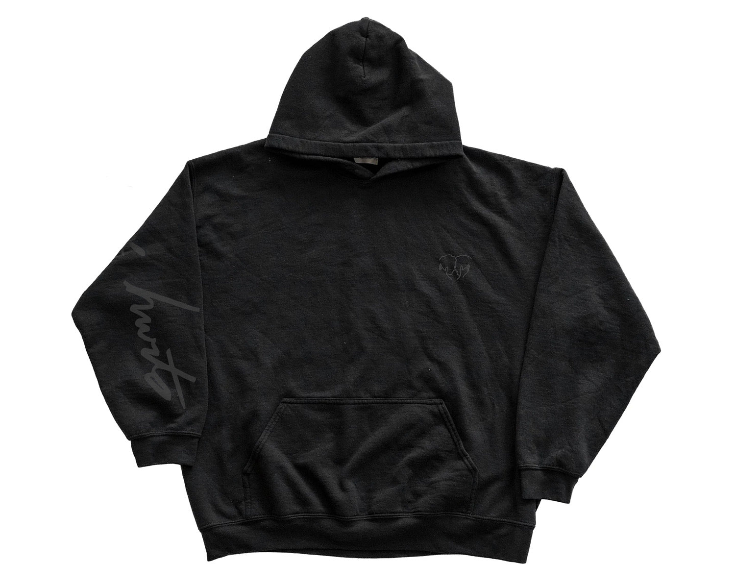 LOVE HURTS HOODED SWEATSHIRT BLACK ON BLACK