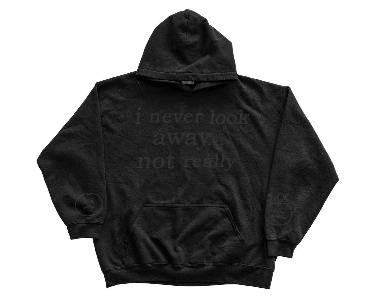 NOT REALLY HOODED SWEATSHIRT BLACK ON BLACK