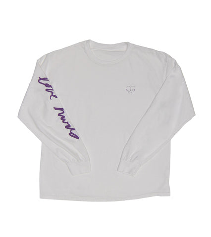 LOVE HURTS LONG SLEEVE WHITE TEE