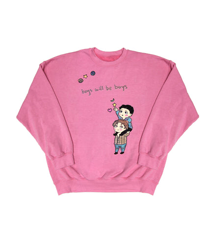 BOYS WILL BE BOYS CREWNECK SWEATSHIRT PINK