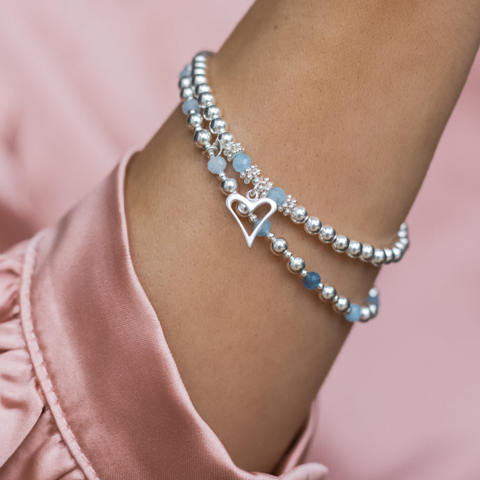 Romantic Heart 925 sterling silver stretch/elastic stack with Aquamarine gemstone
