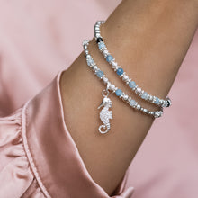 Load image into Gallery viewer, Summer 925 sterling silver elastic/stretch stack with Seahorse charm and Aquamarine gemstone