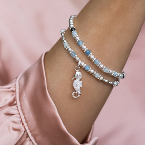 Summer 925 sterling silver elastic/stretch stack with Seahorse charm and Aquamarine gemstone