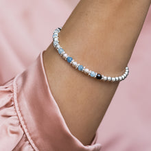 Load image into Gallery viewer, Luxury 925 sterling silver elastic/stretch stacking bracelet with Aquamarine gemstone