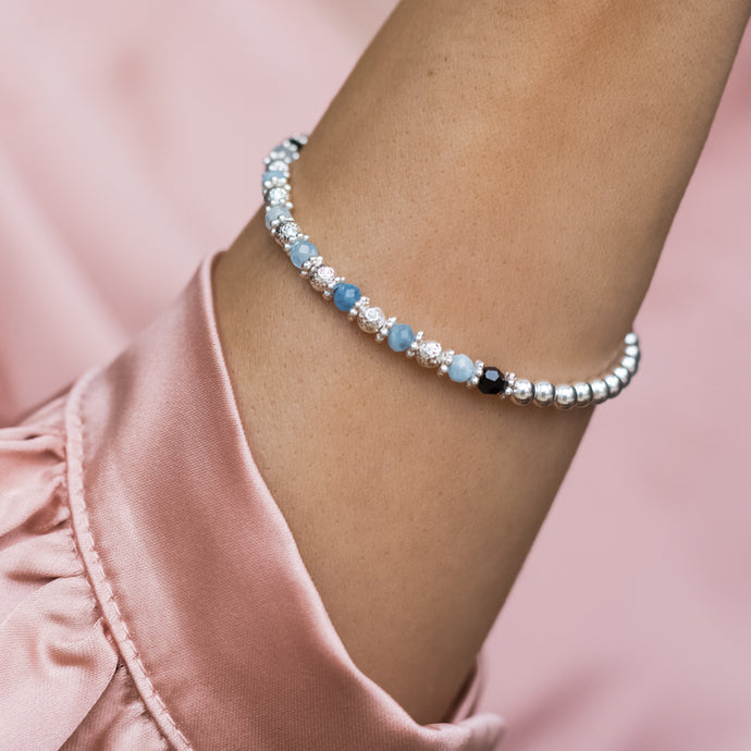 Luxury 925 sterling silver elastic/stretch stacking bracelet with Aquamarine gemstone