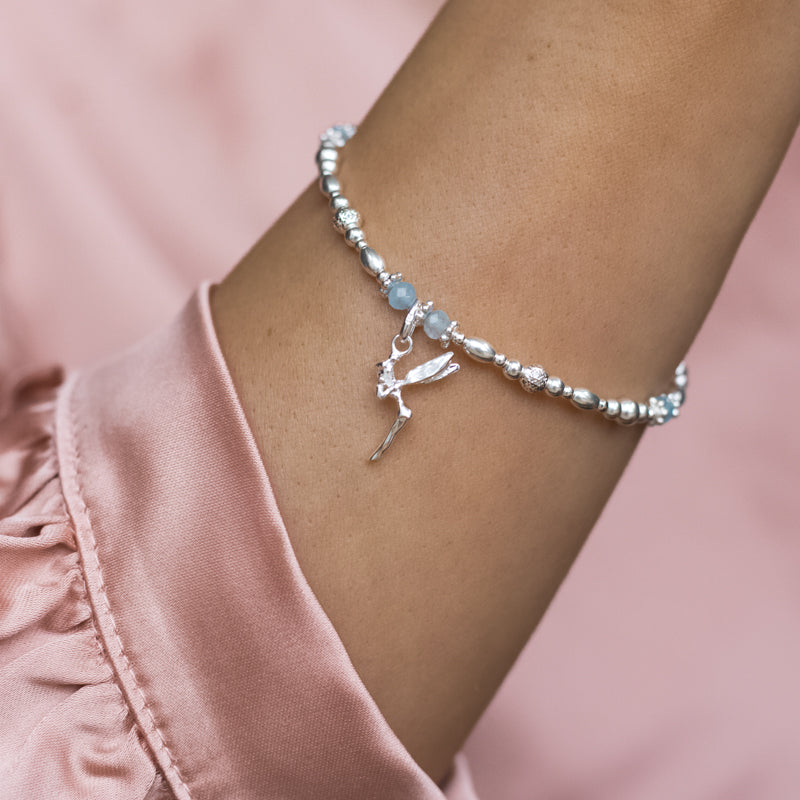 Magical Fairy charm 925 sterling silver stretch/elastic stacking bracelet with Aquamarine gemstone