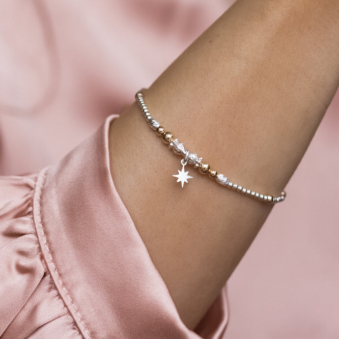 Minimalist dazzling 925 sterling silver and 14k gold filled bracelet with North Star charm