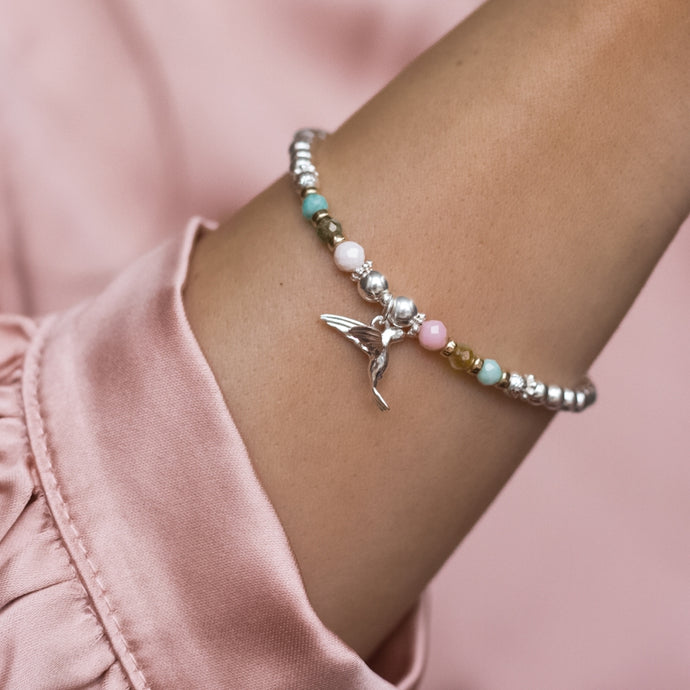 Luxury Hummingbird 925 silver bracelet with Pink Opal, Green Garnet and Amazonite gemstones