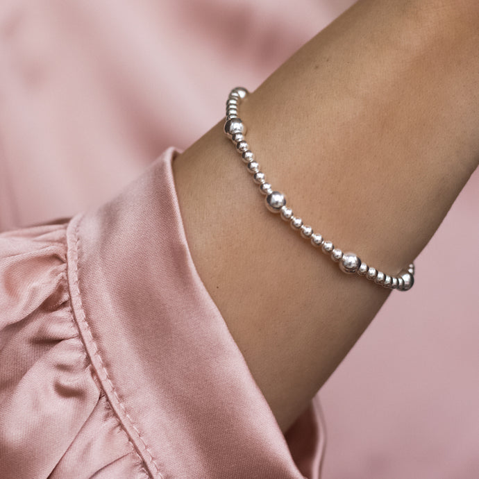 Fashionable 925 sterling silver ball elastic/stretch bracelet