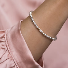 Load image into Gallery viewer, Elegant 925 sterling silver stacking bracelet with 14k gold filled bead