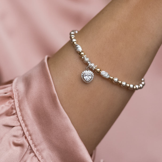 Dazzling 925 silver bracelet and 14k gold filled bracelet with Cubic Zirconia heart charm