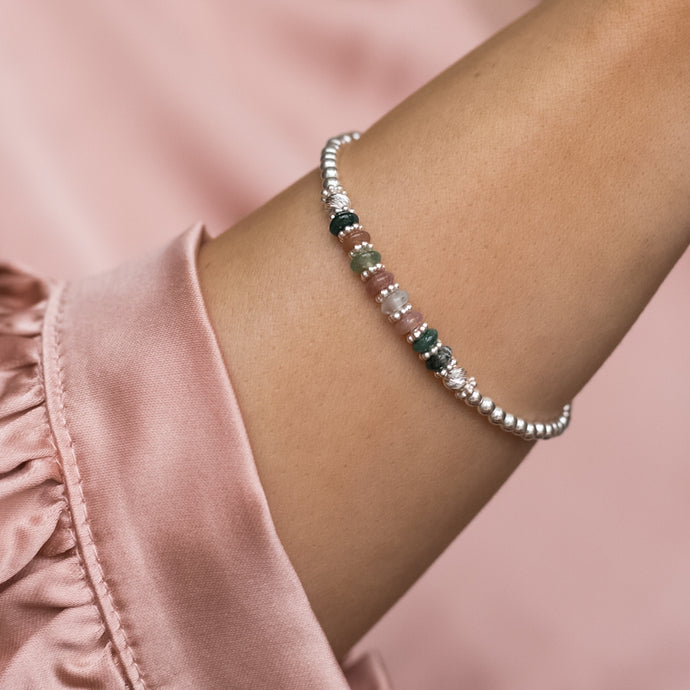 Elegant 925 sterling silver stretch stacking bracelet with natural Indian Agate gemstone beads