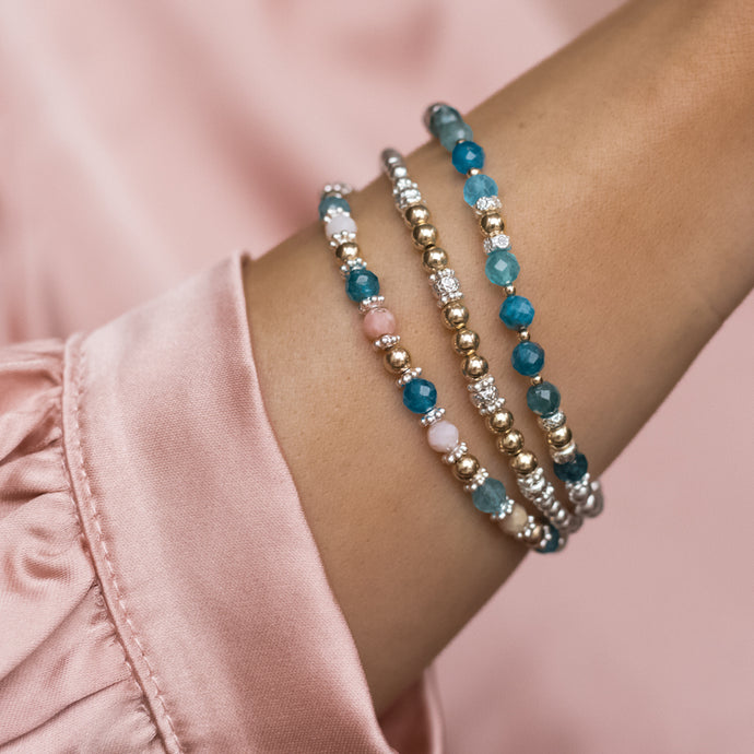 Ocean Blue 925 sterling silver and 14K gold filled bracelet stack with Apatite and Pink Opal gemstone