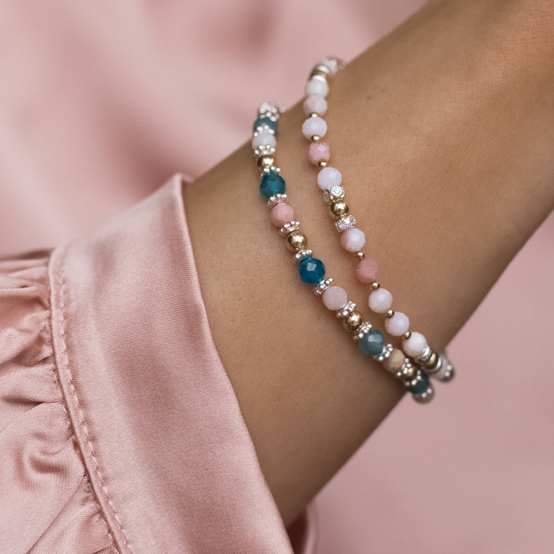 Colorful 925 sterling silver and 14K gold filled bracelet stack with Apatite and Pink Opal gemstone