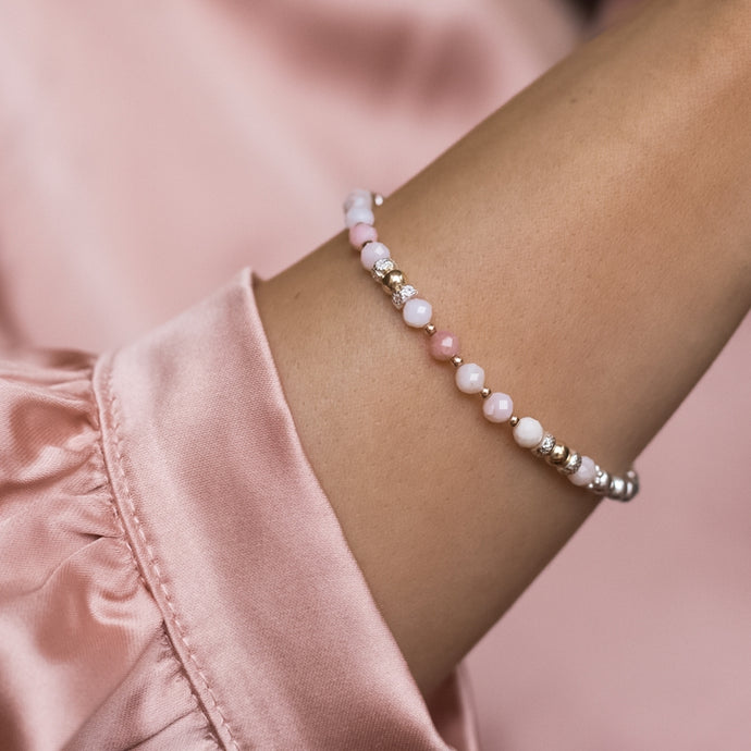Luxury 925 sterling silver bracelet with AAA quality Pink Opal gemstone beads