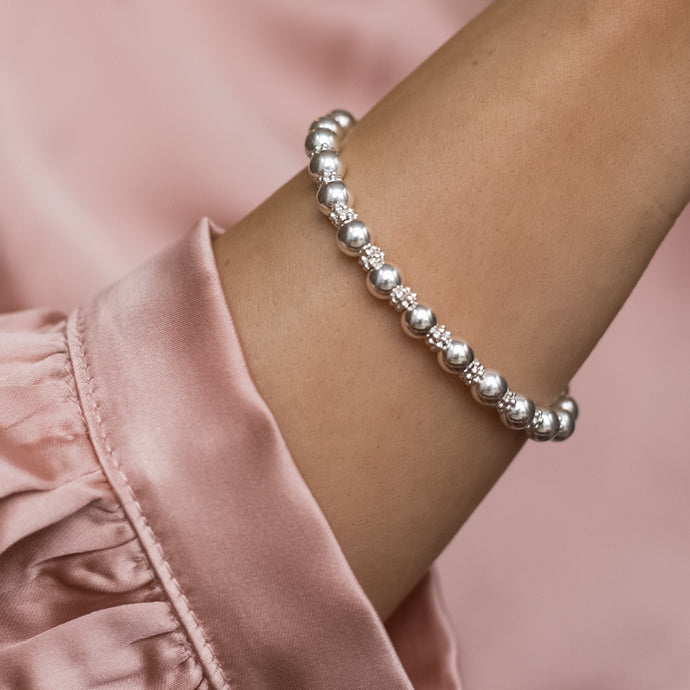 Elegant Lace 925 sterling silver stacking bracelet