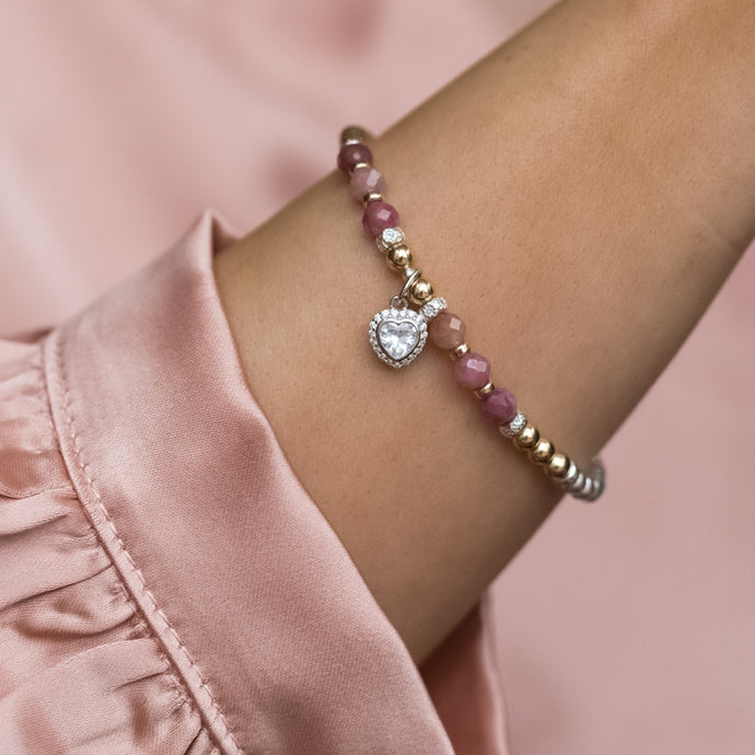 Luxury 925 sterling silver bracelet with AAA Pink Tourmaline gemstone and Heart charm