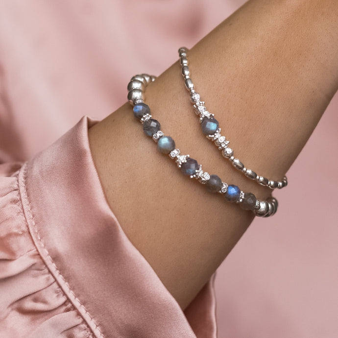 Luxury 925 sterling silver bracelet stack with flashy A Grade Labradorite Gemstone beads
