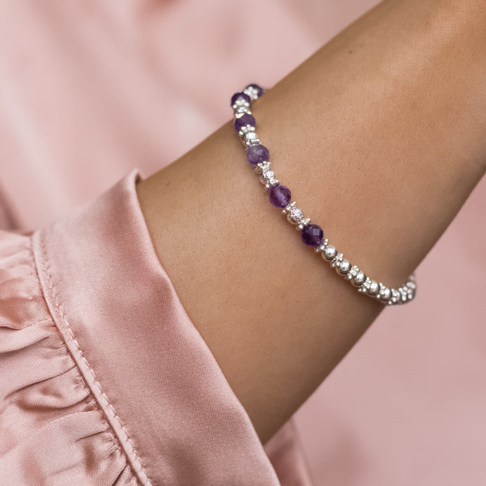 Luxury 925 sterling silver bracelet with 100% natural Bright Violet Amethyst gemstone