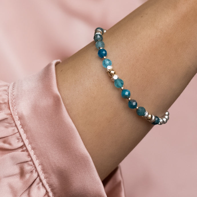 Delicate 925 sterling silver and 14K gold bracelet with A grade Blue Apatite gemstone