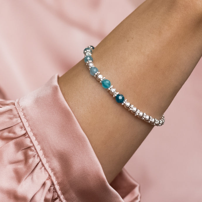 Luxury 925 sterling silver bracelet with 100% natural Blue Apatite gemstone