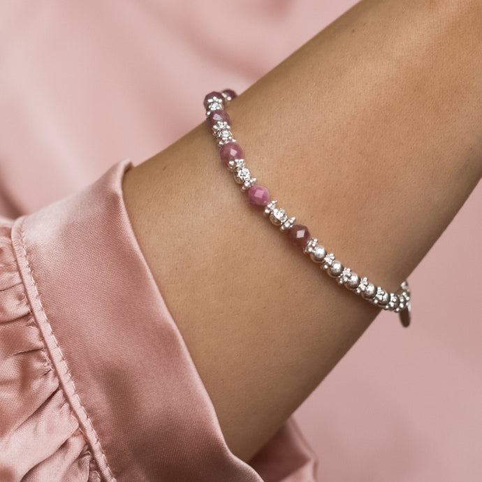 Luxury 925 sterling silver bracelet with 100% natural Pink Tourmaline gemstone