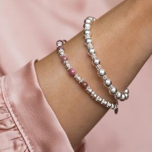 Romantic 925 sterling silver bracelet stack with 100% natural Pink Tourmaline gemstone