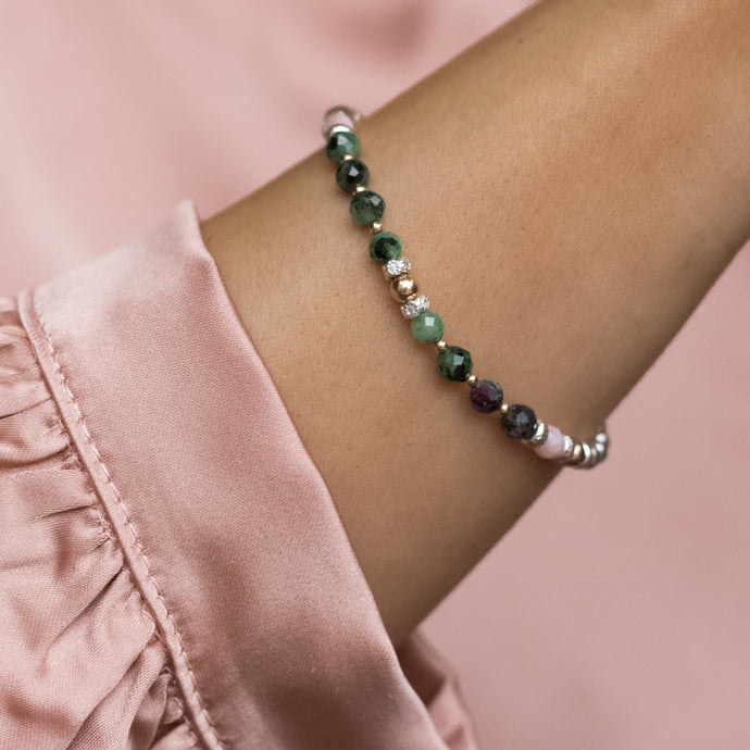 Wonderful 925 sterling silver bracelet with 100% Natural Ruby Zoisite and Pink Opal gemstone beads