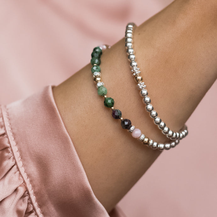 Delicate 925 sterling silver bracelet stack with 100% Natural Ruby Zoisite and Pink Opal gemstone beads